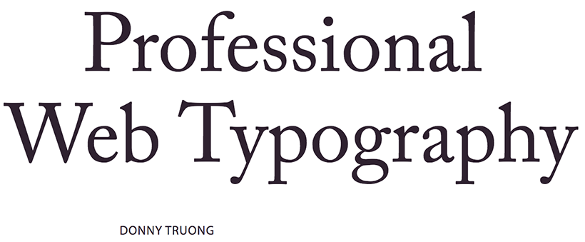 Professional  Web Typography by Donny Truong